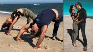 Milind Soman-Ankita Konwar are travel, couple and fitness goals all in these pictures by the Atlantic Ocean(Instagram/ankita_earthy/milindrunning)