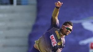 Sunil Narine of Kolkata Knight Riders bowls during match 24 of season 13 of the Dream 11 Indian Premier League (IPL) between the Kings XI Punjab and the Kolkata Knight Riders at the Sheikh Zayed Stadium.(Sportzpics for BCCI)