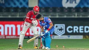 Kings XI Punjab Skipper KL Rahul attempts to stump out Delhi Capitals Skipper Shreyas Iyer during the cricket match of IPL 2020, at Dubai International Cricket Stadium, Dubai.(PTI)