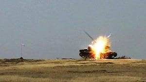 The Nag anti-tank missile, test-fired with a live warhead, destroys an old tank at Pokhran army range on Thursday morning(DRDO)