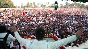 RJD leader Tejaswi Yadav addressing a crowd during an election meeting, ahead of Bihar Assembly elections, in Nalanda on Friday.(ANI)