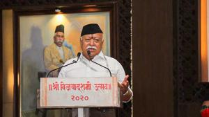 """Mr Bhagwat emphasised the importance of having the sites of production, workforce engaged in production, economic benefits from sales of production and rights of production under """"national control"""".(PTI)"""
