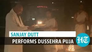 Watch: Sanjay Dutt performs Dussehra puja after cancer recovery