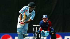 Tanmay Kumar Srivastava of India plays a cut shot against England during the ICC U/19 Cricket World Cup quarter finals match between India and England held at the Kinrara Cricket Oval on February 24, 2008 in Kuala Lumpur.(Getty Images)