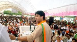 BJP Rajya Sabha MP Jyotiraditya Scindia addresses during an election campaign rally in support of party's contestant Ranveer Jatav in village Barahed, Gohad, Bhind district on Monday. (ANI Photo)