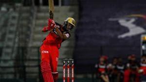 IPL 2020: Devdutt Padikkal smashes one through the off side.(RCB/Twitter)