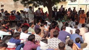 A panchayat of Hindutva organisations in Raghunathpur village of Hapur district.(Sourced)