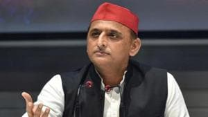 Samajwadi Party leader Akhilesh Yadav addresses a press conference at the party office in Lucknow on October 27, 2020.(PTI)
