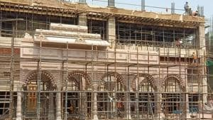 The main complex of the Kashi Vishwanath Temple under construction.(HT Photo)