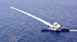 Anti-ship missile fired by Indian Navy's Guided Missile Corvette INS Kora hits the target.(Photo: Twiter/@indiannavy)