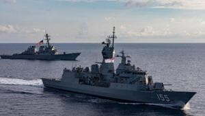 Seen here are USS John McCain and Australian Navy's HMASBallarat. (Photo@USPacificFleet)