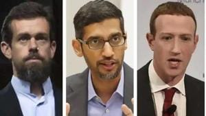 Jack Dorsey (left) Sundar Pichai (centre) and Mark Zuckerberg (right) said that their firms will be on guard against foreign meddling in US polls.(AP Photo)