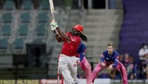 Chris Gayle of Kings XI Punjab plays a shot during the Indian Premier League (IPL) cricket match against Rajasthan Royals at the Sheikh Zayed Stadium, in Abu Dhabi, UAE.(PTI)