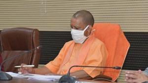 Chief minister of Uttar Pradesh Yogi Adityanath during a review meeting at Circuit House, in Varanasi, Uttar Pradesh on October 31, 2020.(HT Photo)