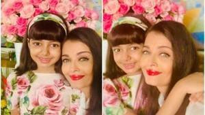 Aishwarya Rai poses with daughter Aaradhya on birthday.