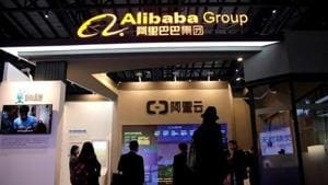 An Alibaba Cloud sign is seen at the Alibaba Group booth during the fourth World Internet Conference in Wuzhen, Zhejiang province, China.(Reuters File Photo)