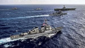 The Malabar originally started in the year 1992 as a bilateral exercise between India and the United States. Japan joined this coordinated naval effort as a permanent member in 2015.(PTI file photo)