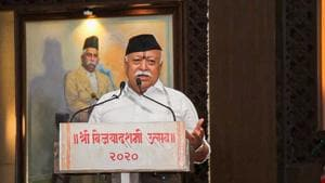 The RSS' all-India working committee meeting takes place annually ahead of Diwali and some 400 functionaries take part, but this year, due to the Covid-19 outbreak, regional levels meets are being held.(PTI file photo)