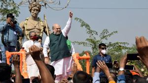 Amit Shah said that the death knell of the Mamata Banerjee government has been sounded and the BJP will come to power with a two-third majority in the coming elections.(PTI)