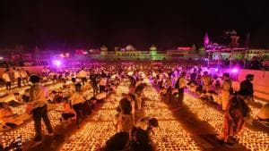 Last year, the Ayodhya administration created a Guinness World Record by lighting 4.10 lakh earthen lamps at the ghats of the Saryu river.(PTI File photo)