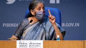 Nirmala Sitharaman, India's finance minister, wears a protective mask while speaking during a news conference in New Delhi. Due to the Covid-19 pandemic and subsequent 68-day lockdown since March 25, GST collections fell sharply in April and continued to contract till August.(Bloomberg)