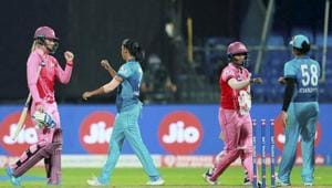 Harmanpreet Kaur (C) of Supernovas exchanges greetings with Trailblazers players after their match at Women's T20 Challenge 2020, in Sharjah, United Arab Emirates.(PTI)