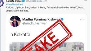 Kishwar's tweet pertaining to an Islamic anti-India rally that was held in Bangladesh was red flagged by Kolkata police.(Courtesy- Twitter -@KolkataPolice)