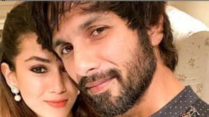 Mira Rajput with husband Shahid Kapoor on Diwali.