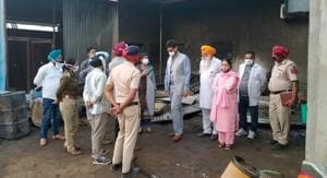 The scene of the blast at Lalru on Friday.(HT Photo)