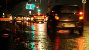 The tricity was lashed by rain on the intervening night of Sunday and Monday.(HT Photo)