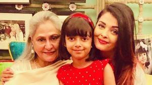 Jaya Bachchan with granddaughter Aaradhya and daughter-in-law Aishwarya Rai.