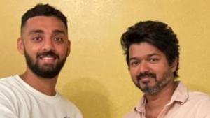 Cricketer Varun Chakravarthy met his matinee icon, Vijay.