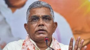 BJP state chief and MP Dilip Ghosh interacts with media at the state BJP party office in Kolkata.(PTI)