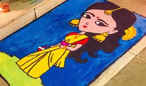 Rangoli made by Mani Tiwari is based on a cartoon character that she says resembles her niece.