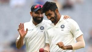 Mohammed Shami and Jasprit Bumrah of India chat during day four of the Third Test match in the series between Australia and India at Melbourne Cricket Ground on December 29, 2018 in Melbourne, Australia.(Getty Images)