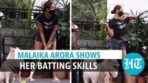 Watch: Actor Malaika Arora plays cricket with son Arhaan