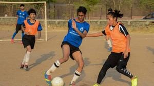 Bala Devi (Indian womens football team caption) in action during the practice session at Unites Poona Sports Academy in NCL, Pashan in Pune.(Milind Saurkar/HT Photo)