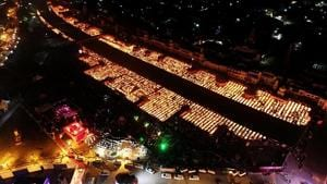 An aerial view of Ayodhya decorated with earthen lamps on the occasion of Diwali.(ANI File)