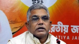 West Bengal BJP President and Lok Sabha MP Dilip Ghosh addresses a press conference.(PTI)