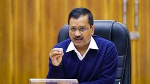Delhi chief minister Arvind Kejriwal speaks in a video conference with Prime Minister Narendra Modi regarding Covid-19 situation.(PTI)