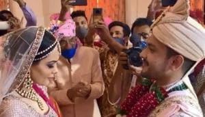 Aditya Narayan and Shweta Agarwal at their wedding.