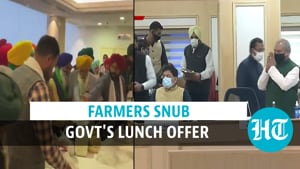 Watch: Farmers decline food offered by govt at meeting, take their own lunch