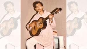 Chef Sanjeev Kapoor playing the guitar at his place in Varanasi while working at Hotel Varanasi Ashok