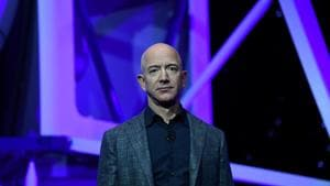 Founder, Chairman, CEO and President of Amazon Jeff Bezos at the launch of space company Blue Origin's space exploration lunar lander rocket called Blue Moon during an unveiling event in Washington, US on May 9, 2019.(Reuters File Photo)