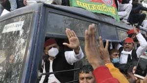 """The SP chief was scheduled to go to Kannauj to lead a farmers' protest after the party gave a call for a statewide """"kisan yatra'' against the laws on Monday, but he was not allowed to leave his residence.(Deepak Gupta/HT Photo)"""