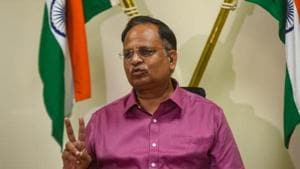 """Delhi health minister Satyendar Kumar said that the third wave of coronavirus (Covid-19) pandemic in the national capital was not over yet, but was """"definitely on the wane"""".(Amal KS/HT PHOTO)"""