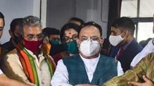 JP Nadda is on a two-day tour of West Bengal to participate in various programmes targeted at strengthening the party's cadre as well as its presence at the booth level.(PTI)