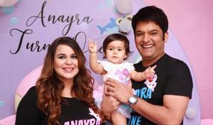 Kapil Sharma and Ginni Chatrath at daughter Anayra's birthday party.