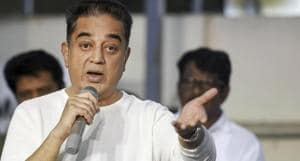 Makkal Needhi Maiam (MNM) president Kamal Haasan addresses a press conference after announcing the party's Puducherry unit, in Chennai in January 2019.(PTI FILE)