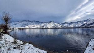 Fresh snowfall in Srinagar(Waseem Andrabi/Hindustan Times)